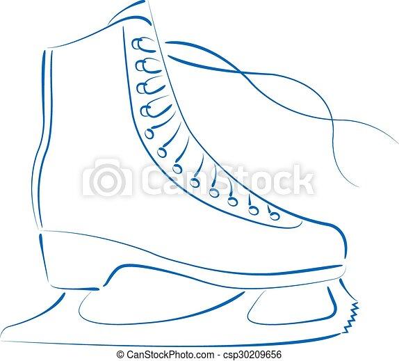 sketched ice skates elegant sketched ice skates isolated on white