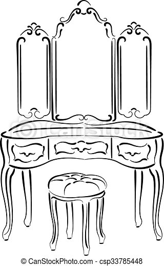 Sketched Retro Dressing Table Sketched Retro Dressing
