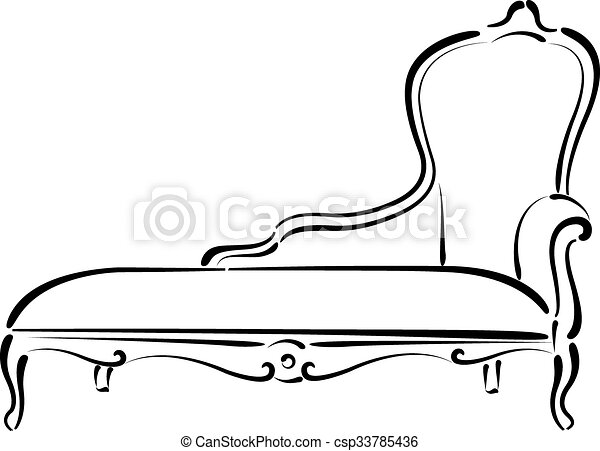 couch drawing. Sketched Sofa Couch Daybed Illustration. Drawing