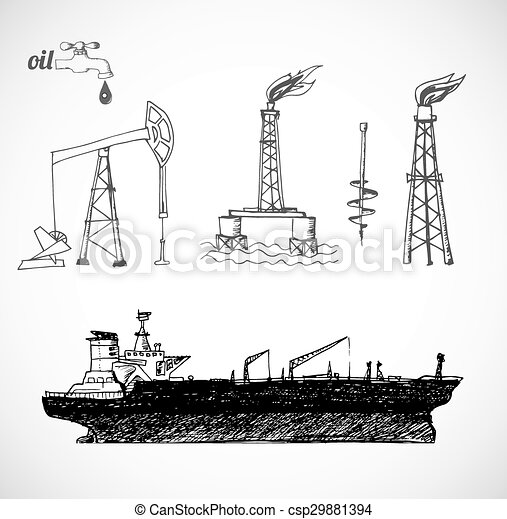 Sketches of oil objects. Sketches of oil rigs, offs drilling ...