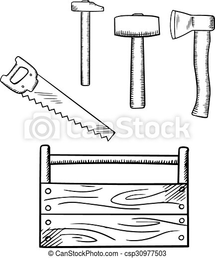 Sketches Of Toolbox And Carpentry Tools. Handmade Wooden... Vector Clipart - Search Illustration ...