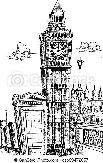 Sketching of big ben london csp39472657