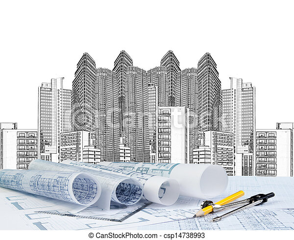 sketching of modern building and plan blueprint  - csp14738993