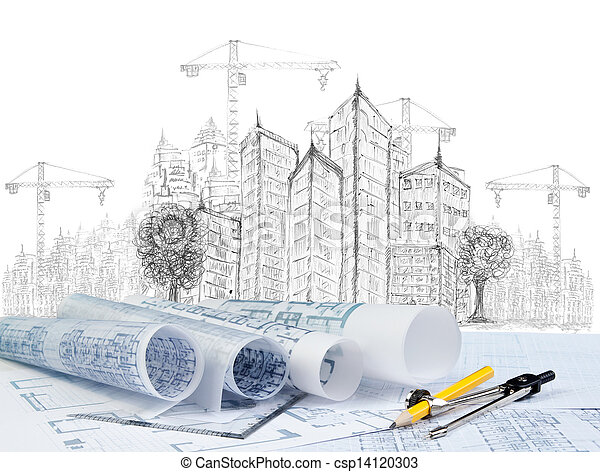 sketching of modern building construction and plan document  - csp14120303