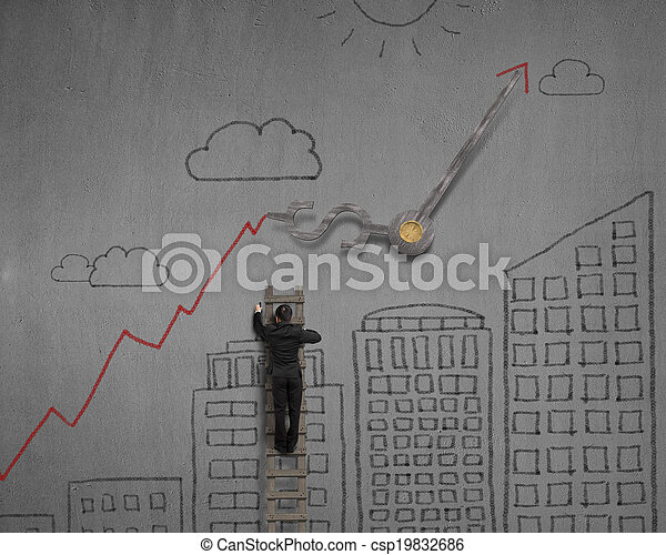 Sketching on wall with clock hands and red arrow - csp19832686