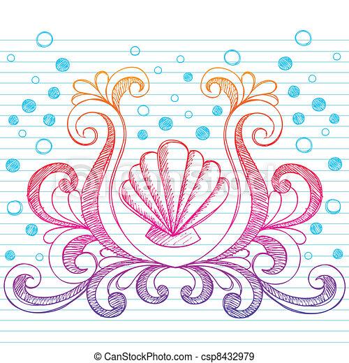 Sketchy Beach Shell Doodle Vector - csp8432979