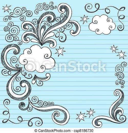 Sketchy Cloud Doodle Frame Vector - csp8186730