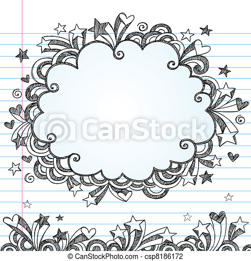 Sketchy Cloud Doodle Vector Frame - csp8186172