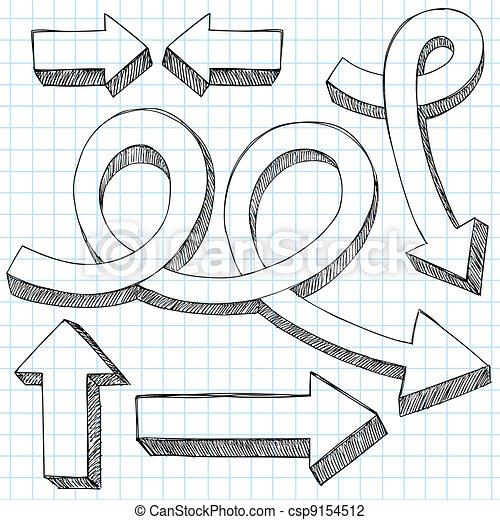 Sketchy Doodle 3D Arrows Vector Set - csp9154512