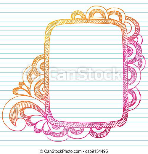 Sketchy doodle picture frame vector. Sketchy notebook doodles ...