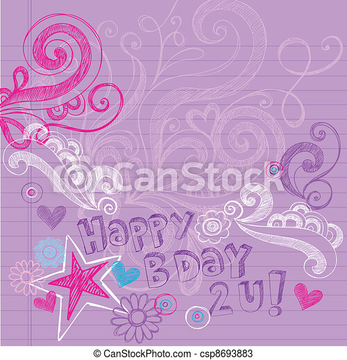 Sketchy Doodles Birthday Vector - csp8693883
