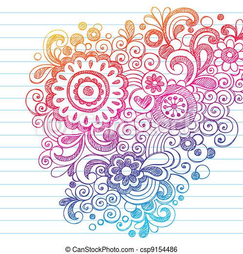 Sketchy Doodles Flowers Vector - csp9154486