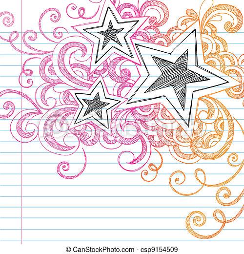 Sketchy Doodles Stars Vector Design - csp9154509