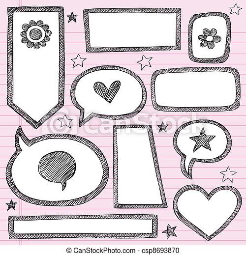 Sketchy frames shapes borders set. Sketchy school shape ...