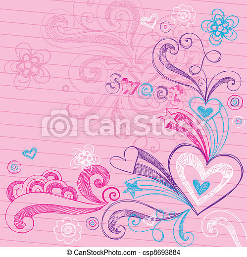 Sketchy Heart Love Doodles Vector - csp8693884