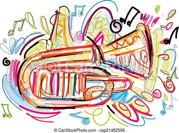 Sketchy Horn - csp21482506
