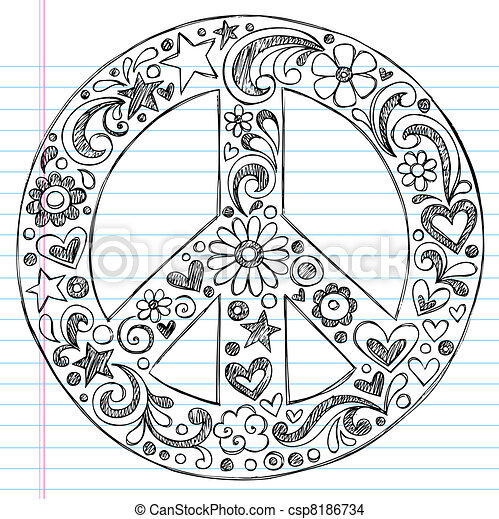 Sketchy Notebook Doodles Peace Sign - csp8186734