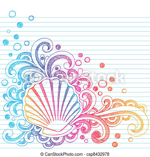 Sketchy Beach ostra conchas marinas doodl - csp8432978