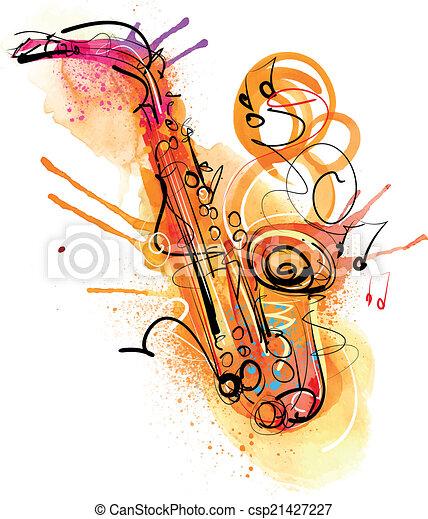 Sketchy Saxophone Watercolor - csp21427227