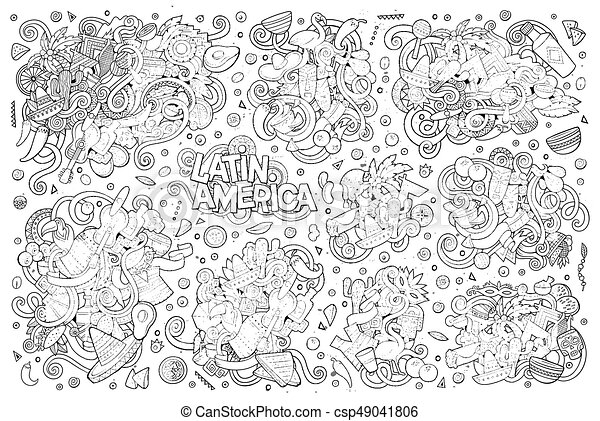Sketchy Vector Hand Drawn Doodle Latin American Objects Sketchy