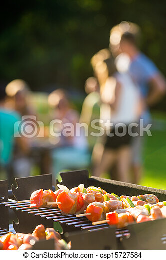 Skewers Grilling On Barbecue - csp15727584