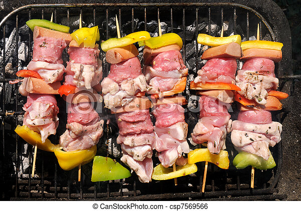 skewers on the grill - csp7569566