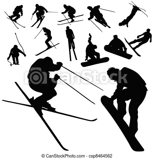 ski and snowboarding people silhouette - csp8464562