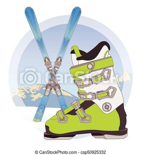 ski boot and pair of skis on snow with mountains in the background - csp50925332