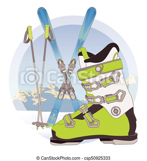 ski boot, ski poles and pair of skis on snow with mountains in the background - csp50925333