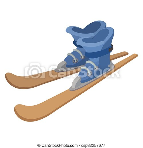 ski boots and skis cartoon illustration. color icon on a vectors