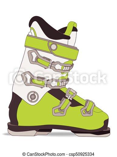 ski boots isolated on white background - csp50925334