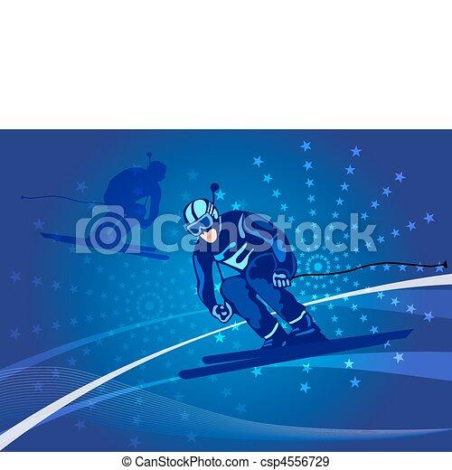 Wintersport - Skifahren. Skifahrer Läuft Bergab.  Karikatursportler-Skisteigung Unten Vom Berg. Flachen Stil Vektor-Cliparts,  Die Isoliert Auf Weißem Hintergrund. Lizenzfrei Nutzbare Vektorgrafiken, Clip  Arts, Illustrationen. Image 72076280.