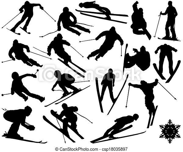 Illustration Silhouettes Vecteur Noir Ski