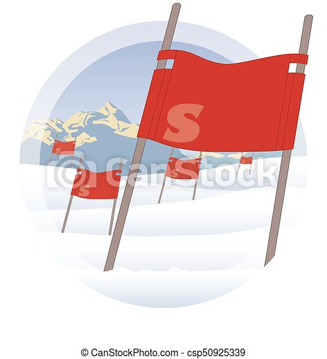 ski flags on ski hill with mountains in the background - csp50925339