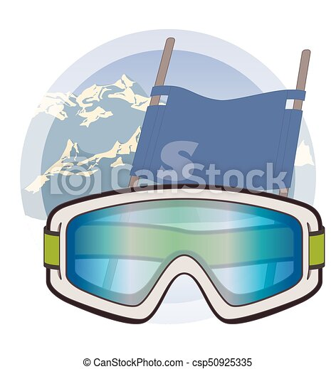 ski goggles on snow with mountains and ski flag in background - csp50925335