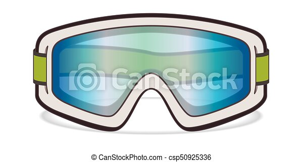 ski goggles, white on white background - csp50925336