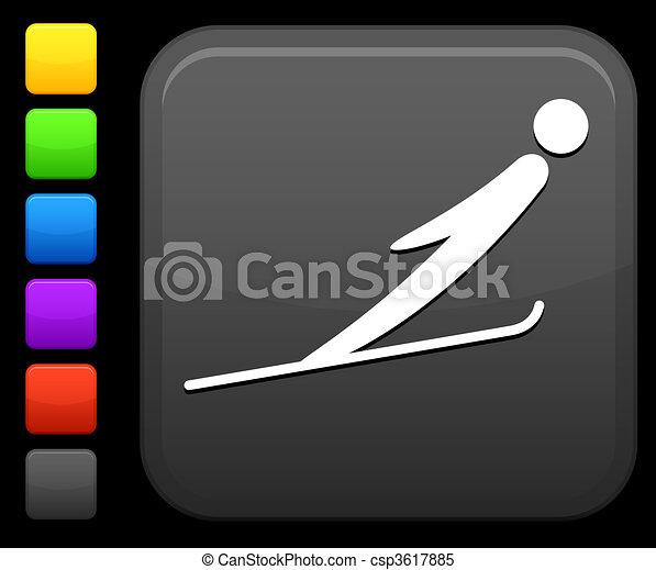 ski jumping icon on square internet button - csp3617885