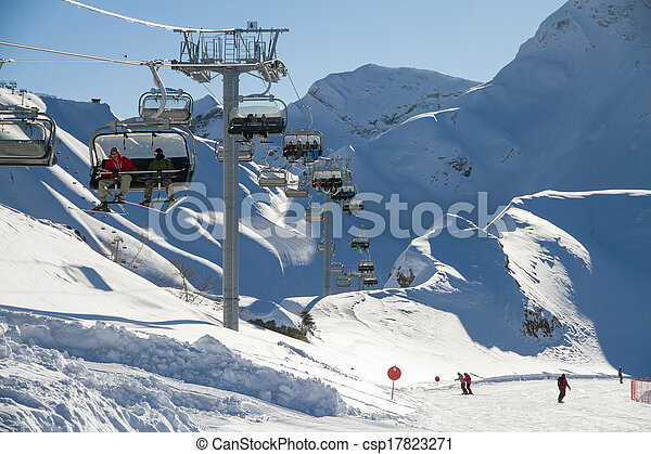 Ski Lift Chairs In The Mountains   Csp17823271