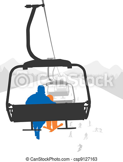 Ski Lift Silhouettes Of Adult And Kid Skier Riding Ski Lift Vector Canstock
