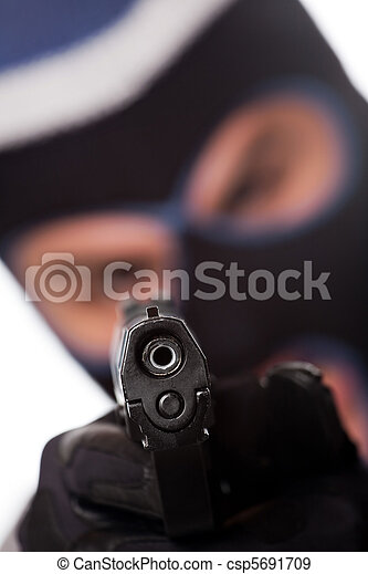 Ski Masked Criminal Pointing a Gun - csp5691709