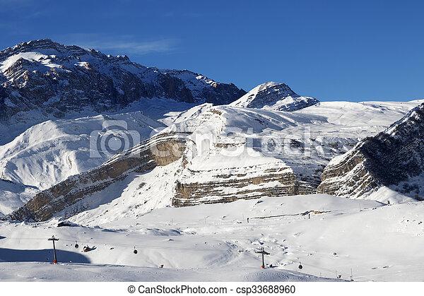 Ski resort at sunny day - csp33688960