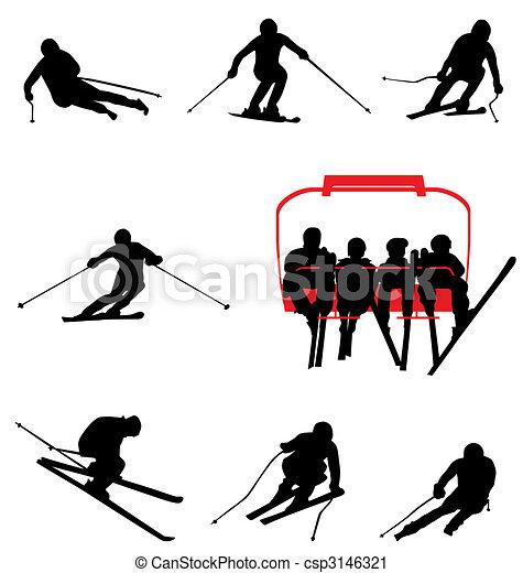 ski silhouettes collection - csp3146321