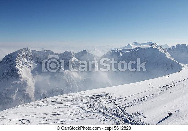 Ski traces on snow in mountains - csp15612820
