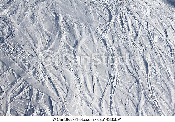 Ski traces on snow in mountains - csp14335891