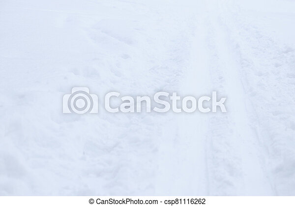 Ski trail texture. Ski run traces background. Snow skiing track surface. - csp81116262