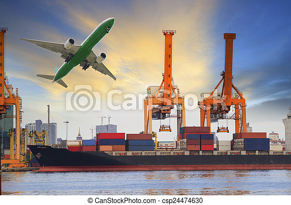 skib, lastning, beholder, havn - csp24474630