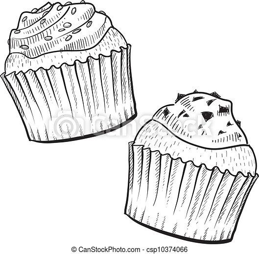 Skica Cupcakes Moda Cupcakes Format Klikyhaky Ilustrace