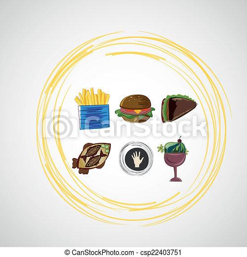 skica, dát, ikona, barva, strava, vektor - csp22403751