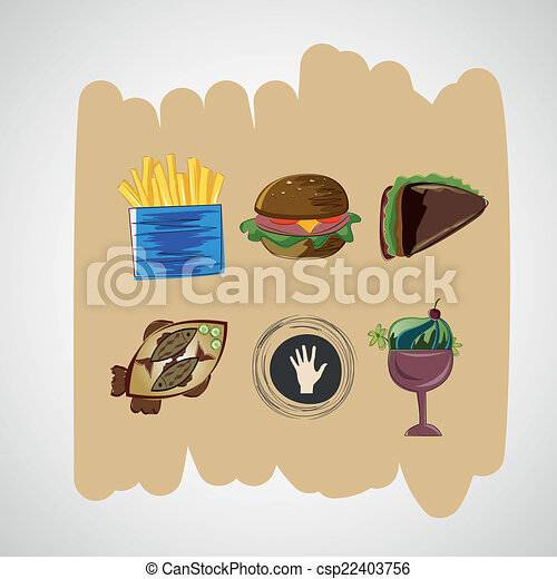 skica, dát, ikona, barva, strava, vektor - csp22403756