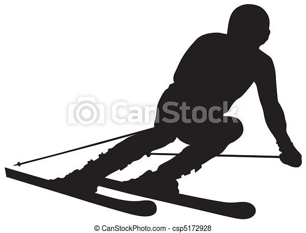 abstract vector illustration of skier rh canstockphoto com snow skiing clip art skiing clip art free